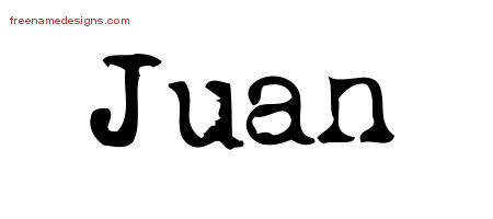 Vintage Writer Name Tattoo Designs Juan Free Lettering