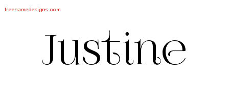 Justine Vintage Name Tattoo Designs