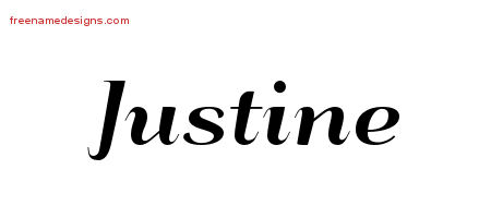 Justine Art Deco Name Tattoo Designs