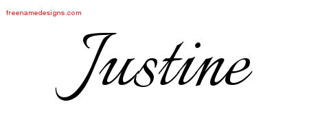 Justine Calligraphic Name Tattoo Designs