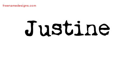 Justine Vintage Writer Name Tattoo Designs