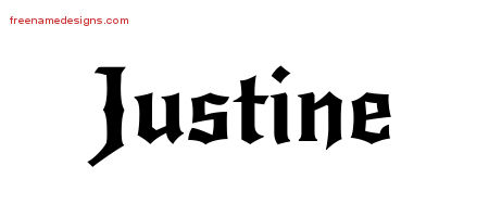 Justine Gothic Name Tattoo Designs