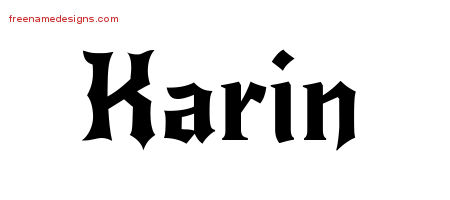 Gothic Name Tattoo Designs Karin Free Graphic