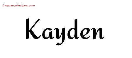 Calligraphic Stylish Name Tattoo Designs Kayden Free Graphic