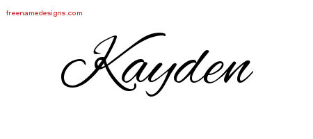 Cursive Name Tattoo Designs Kayden Free Graphic