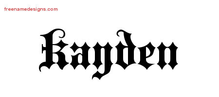 Old English Name Tattoo Designs Kayden Free Lettering