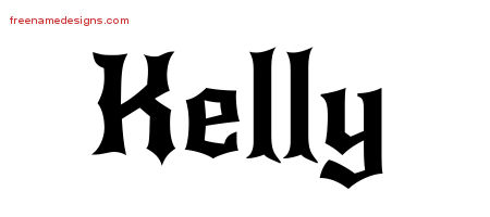 Gothic Name Tattoo Designs Kelly Free Graphic