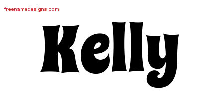 Groovy Name Tattoo Designs Kelly Free Lettering