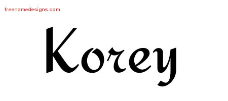 Calligraphic Stylish Name Tattoo Designs Korey Free Graphic