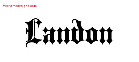 Old English Name Tattoo Designs Landon Free Lettering