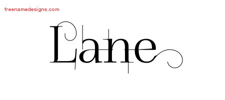 Decorated Name Tattoo Designs Lane Free Lettering