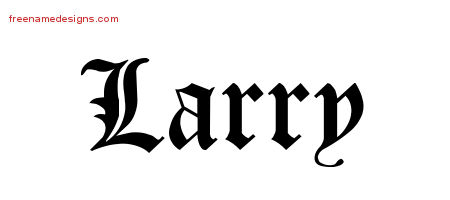 Blackletter Name Tattoo Designs Larry Graphic Download