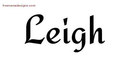 Calligraphic Stylish Name Tattoo Designs Leigh Free Graphic