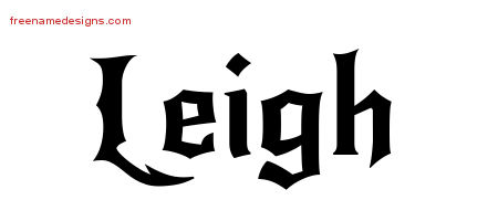 Gothic Name Tattoo Designs Leigh Free Graphic