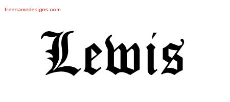 Blackletter Name Tattoo Designs Lewis Printable