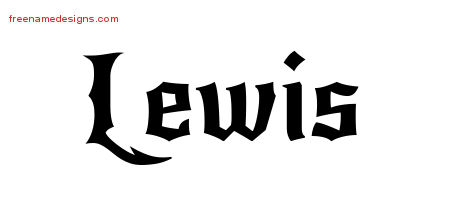 Gothic Name Tattoo Designs Lewis Download Free
