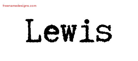 Typewriter Name Tattoo Designs Lewis Free Printout