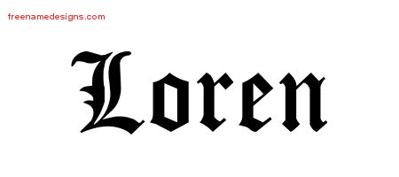 Blackletter Name Tattoo Designs Loren Graphic Download