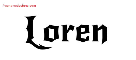 Gothic Name Tattoo Designs Loren Free Graphic