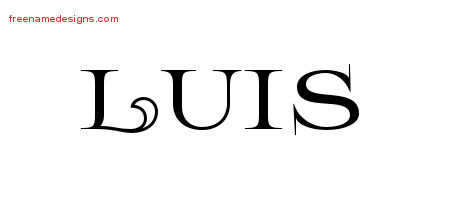 Flourishes Name Tattoo Designs Luis Printable