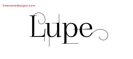 Decorated Name Tattoo Designs Lupe Free Lettering