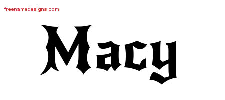 Macy Gothic Name Tattoo Designs