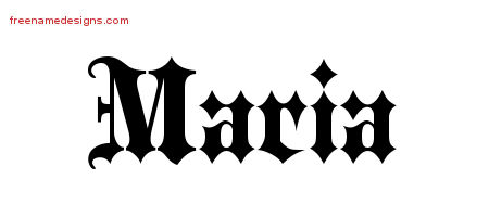 Old English Name Tattoo Designs Maria Free Lettering
