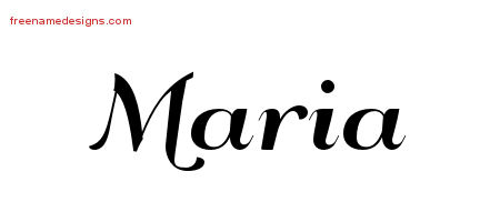 Art Deco Name Tattoo Designs Maria Graphic Download