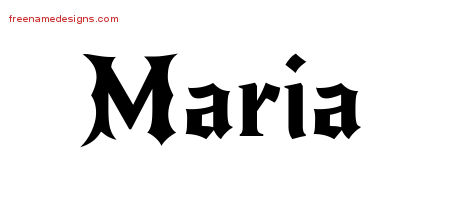 Gothic Name Tattoo Designs Maria Free Graphic