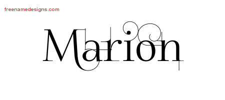 Decorated Name Tattoo Designs Marion Free Lettering