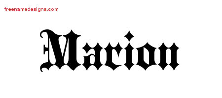 Old English Name Tattoo Designs Marion Free Lettering