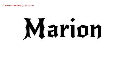 Gothic Name Tattoo Designs Marion Free Graphic