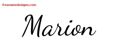 Lively Script Name Tattoo Designs Marion Free Printout