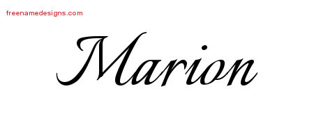 Calligraphic Name Tattoo Designs Marion Free Graphic