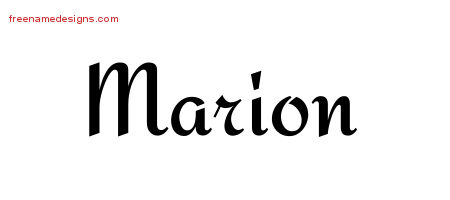 Calligraphic Stylish Name Tattoo Designs Marion Free Graphic