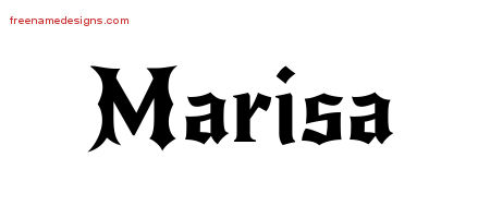 Gothic Name Tattoo Designs Marisa Free Graphic
