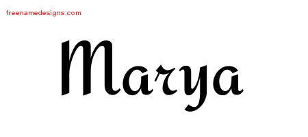 Calligraphic Stylish Name Tattoo Designs Marya Download Free