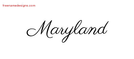 Classic Name Tattoo Designs Maryland Graphic Download