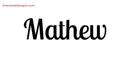 Handwritten Name Tattoo Designs Mathew Free Printout