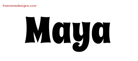 Groovy Name Tattoo Designs Maya Free Lettering