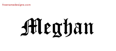 Blackletter Name Tattoo Designs Meghan Graphic Download