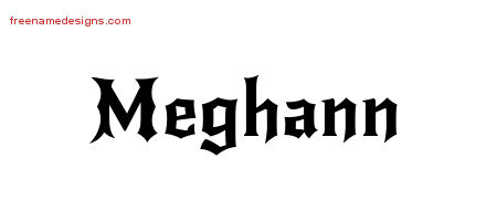 Gothic Name Tattoo Designs Meghann Free Graphic