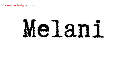Typewriter Name Tattoo Designs Melani Free Download