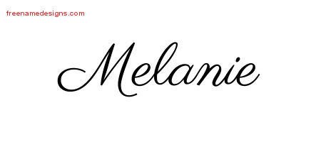Classic Name Tattoo Designs Melanie Graphic Download