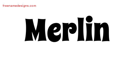Groovy Name Tattoo Designs Merlin Free