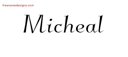 Elegant Name Tattoo Designs Micheal Free Graphic