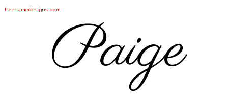 Classic Name Tattoo Designs Paige Graphic Download