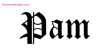 Blackletter Name Tattoo Designs Pam Graphic Download
