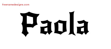 Gothic Name Tattoo Designs Paola Free Graphic