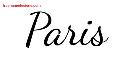 Lively Script Name Tattoo Designs Paris Free Printout